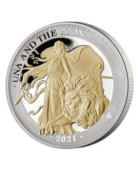 2021 1 oz St Helena Una and the Lion .999 Gold Gilded Silver Proof Coin