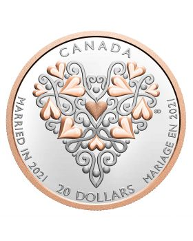 2021 1 oz Canada Best Wishes On Your Wedding Day  .9999 Silver Proof Coin