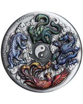 2021 5oz Tuvalu Mythical Creatures .9999 Silver Antique Coloured Coin