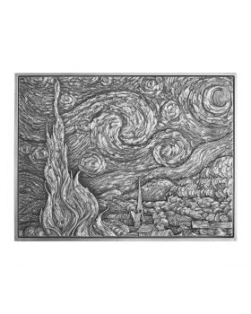 2021 2oz Chad Vincent van Gogh - The Starry Night  .999  Silver High Relief Antique Coin