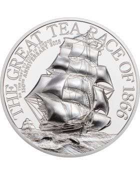 2016 2 oz Cook Islands The Great Tea Race Ultra-High Relief .999 Silver Proof Coin