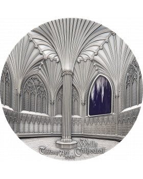 2017 1 kg Palau Tiffany Art: Decorated - Wells Cathedral .999 Silver High Relief Antique Finish Coin
