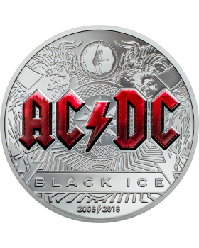 2018 2 oz Cook Islands AC/DC Black Ice .999 Silver Proof Coin