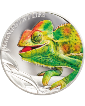 2020 1 oz Cook Islands Magnificent Life - Chameleon .999 Silver Proof Coin