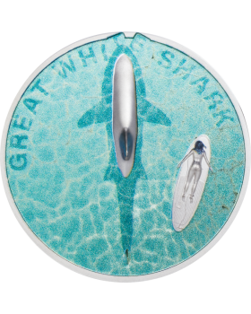 2021 1 oz Palau Great White Shark .999 Silver Proof Coin