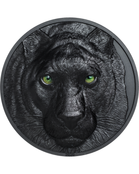 2020 2 oz Palau Hunters by Night - Black Panther .999 Silver Obsidian Black Proof Coin