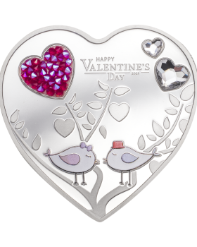 2021 20g Cook Islands Happy Valentine's Day - Silver Hearts .999 Silver Proof Coin