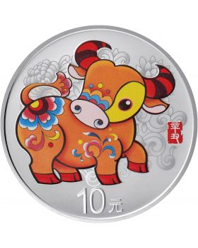 2021 30 gram China Lunar Year of the Ox .999 Silver Proof Coloured Coin