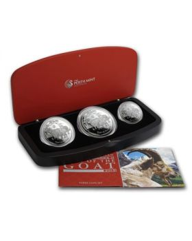 2015 Australia Lunar Series II - Year of the Goat .999 Silver Proof Three Coin Set