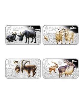 2015 1oz Australia Lunar Series II - Year of the Goat .999 Silver Rectangle Four-Coin Set