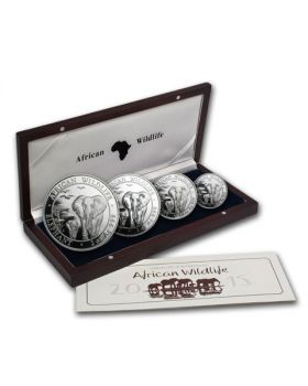 2015 Somalia 4-Coin Silver African Elephant Proof Set
