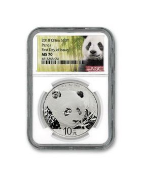 2018 30 grams China Panda .999 Silver Coin NGC MS70 First Day Issue White Core