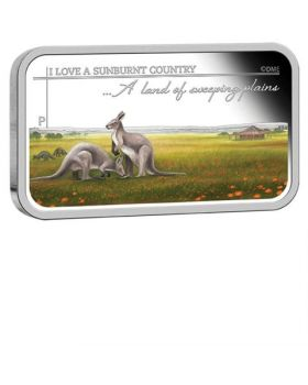 2015 1oz Australia Sunburnt Country - A Land of Sweeping Plains .999 Silver Proof Rectangle Coin