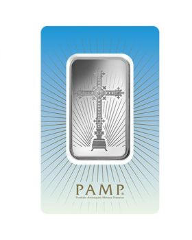 1 oz Pamp Suisse - Romanesque Cross .999 Silver Bar (in Assay)