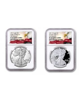 2021-S 1oz America Eagle Type 1 and Type 2 .999 Silver Proof Set (NGC PF70)