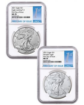2021 1oz America Eagle 999 Silver Coin Type 1 & Type 2 Set (NGC MS70 First Day of Issue)