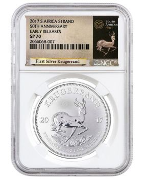 2017 1 oz South Africa Krugerrand .999 Silver Coin (NGC SP70 Early Releases - Exclusive Krugerrand Label)