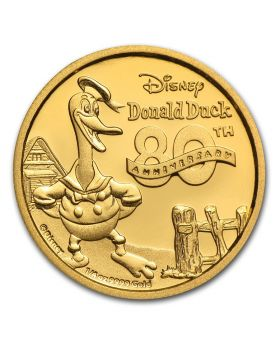 2014 1/4oz Disney Donald Duck 80th Anniversary .9999 Gold Proof Coin