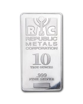 Republic Metals Corporation (RMC) 10 oz 999 Silver Bar (Spotted)