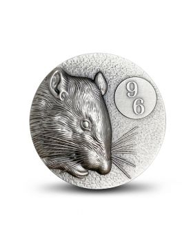 2020 2 oz Niue Year of the Rat - 96 Zodiacs .999 Silver Antique Coin