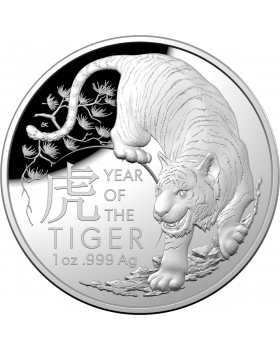 2022 1oz Australia Lunar Year of the Tiger .999 Silver Proof Domed Coin