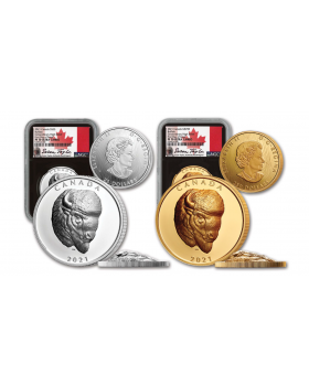 2021 Canada Bold Bison 9999 Extraordinarily High Relief Gold and Silver Proof 2 Coin Set (NGC PF70 FDI)(Certificate # 28)