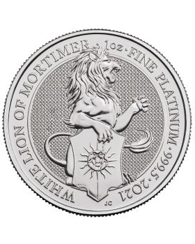 2021 1 oz Great Britain The Queen's Beasts -The White Lion of Mortimer .9995 Platinum Coin BU