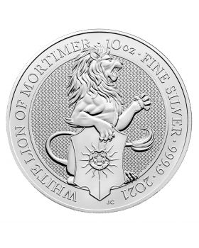 2021 10 oz Great Britain The Queen's Beasts - The White Lion of Mortimer .9999 Silver Coin BU