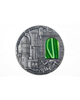2014 2 oz Niue Crystal Art Series - Secrets of PENA Palace Green Crystal  .999 Silver High Relief Antique Finish