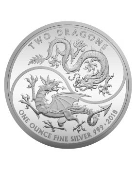 2018 1 oz Great Britain Two Dragons 999 Silver Proof Coin