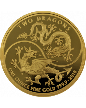 2018 1 oz Great Britain Two Dragons 9999 Gold Proof Coin