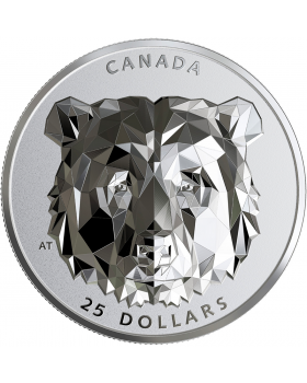 2019 1 oz Canada Multifaceted Animal Head : Grizzly Bear .9999 Silver Proof Coin
