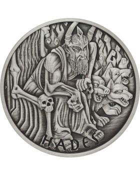 2021 5 oz Tuvalu Gods of Olympus - Hades .9999 Silver Antiqued Coin (Certificate #1)