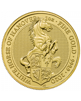 2020 1 oz Great Britain The Queen's Beasts The White Horse of Hanover .9999 Gold Coin (Scratches)
