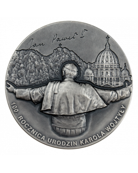 2020 100 gram Republic of Cameroon Karol Wojtyla In Memoriam – 100th Anniversary of The Birth .999 Silver Antiqued High Relief Coin