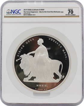 2019 2 Kilo Great Britain The Great Engravers – William Wyon – Una and the Lion 999 Silver Proof Coin (Cert # 1)