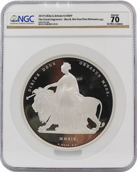 2019 2 Kilo Great Britain The Great Engravers – William Wyon – Una and the Lion 999 Silver Proof Coin (Cert # 2)