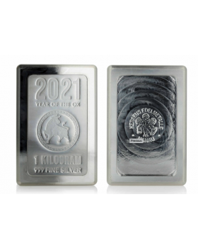 2021 1 kg Scottsdale Year of the Ox Lunar Stacker .999 Silver Bar
