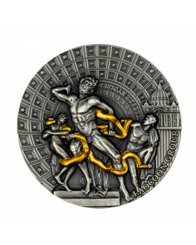 2020 2 oz Republic of Cameroon – Masterpieces of sculptural art - Laocoon Group .999 Silver Antique Coin