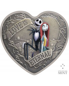 2021 1 oz Niue Disney The Nightmare Before Christmas  - Love is Eternal .999 Silver Antique Coin