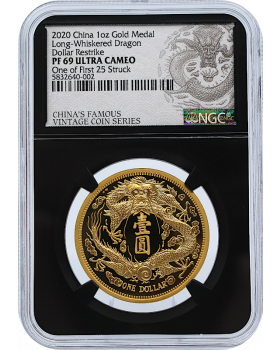 2020 1 oz China Long-Whiskered Dragon Dollar Four 999 Gold Restrike Premium Uncirculated  (NGC PF69 UC First Struck)