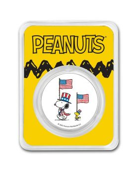 2021 1oz Peanuts - Patriotic Snoopy and Woodstock .999 Sliver Colorized Round