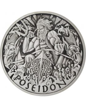 2021 5 oz Tuvalu Gods of Olympus - Poseidon .9999 Silver Antiqued Coin (Certificate #3)