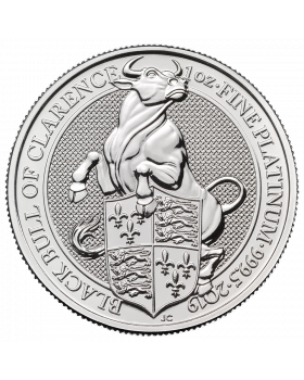 2019 1 oz Britain Queen's Beasts -The Black Bull of Clarence .9995 Platinum Coin (Scarches)