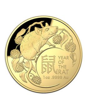 2020 1oz Australia Lunar Year of the Rat .9999 Gold Domed Proof Coin