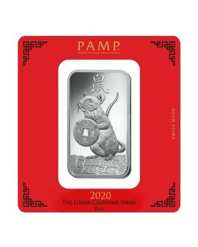 100 gram Pamp Suisse - Year of the Mouse .999 Silver Bar