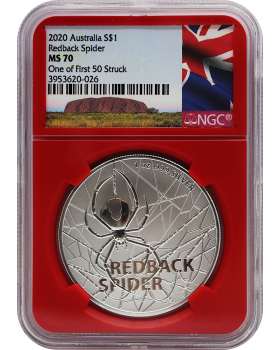 2020 1 oz Australia's Most Dangerous - Redback Spider .999 Silver Coin BU (NGC MS70 One of the first 50 struck) **Spotted**