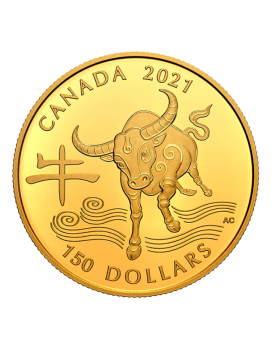 2021 11.845g Canada Year of the Ox .9999 Gold Proof Coin
