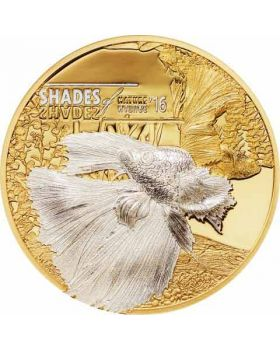 2016 25 gram Cook Islands Shades of Nature - Fighting Fish Gilded .999 Silver Proof Coin