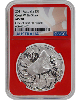 2021 1 oz Australia's Most Dangerous - Great White Shark .999 Silver Coin (NGC MS70 One of First 50 Strike)
